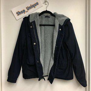 Brandy Melville Soft Navy Sherpa Jacket